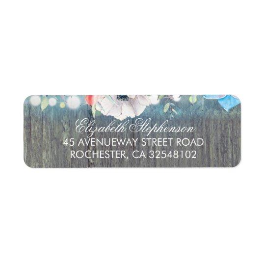 Casamento rústico do celeiro das flores de etiqueta endereço de retorno
