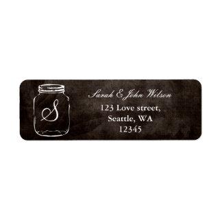 casamento rústico do frasco de pedreiro, etiqueta