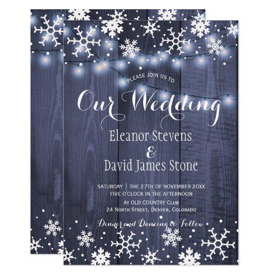 Casamento rústico do inverno de madeira azul do convite 12.7 x 17.78cm