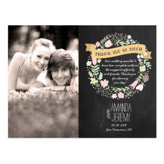 Casamento rústico do quadro da grinalda da flor de cartão postal