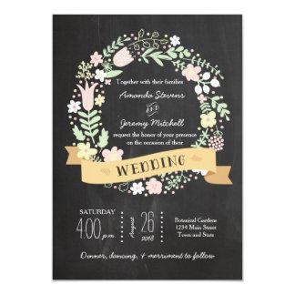 Casamento rústico do quadro da grinalda da flor de convite 12.7 x 17.78cm