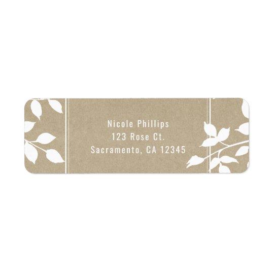 Casamento rústico simples das folhas botânicas etiqueta endereço de retorno