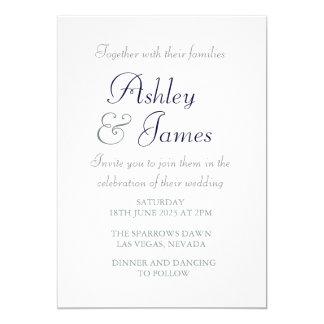 Casamento simples azul branco do roteiro elegante convite 12.7 x 17.78cm