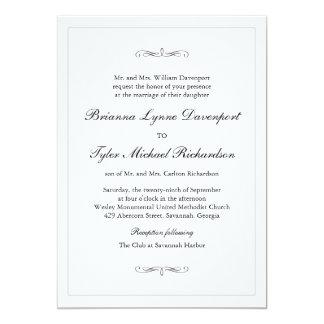 Casamento simples clássico da elegância convite 12.7 x 17.78cm
