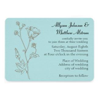 Casamento simples da flor da elegância convites personalizado