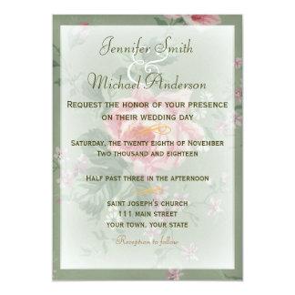 Casamento simples do rosa verde & cor-de-rosa do convite 12.7 x 17.78cm