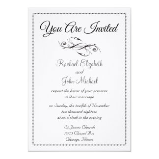 Casamento simples elegante preto e branco clássico convite 12.7 x 17.78cm