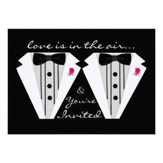 Casamento-Smoking de dois Noivo-Gay Convites