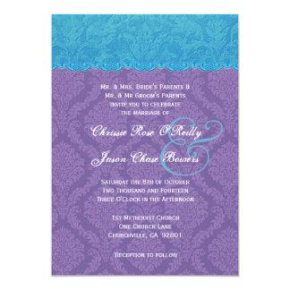 Casamento tema damasco azul e roxo V11 do Aqua Convites Personalizados