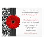 Casamento tema damasco branco preto vermelho da ma convites personalizados