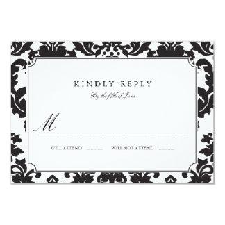 Casamento tema damasco clássico RSVP Convite 8.89 X 12.7cm