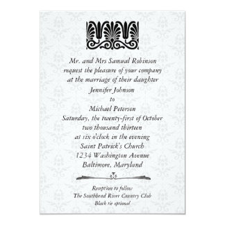 Casamento tema damasco filigrana do preto do convite 12.7 x 17.78cm