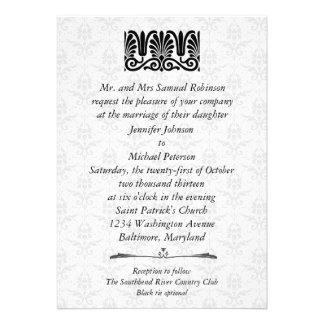 Casamento tema damasco filigrana do preto do ornam convites