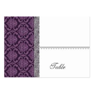 Casamento tema damasco roxo ajustado - cartão de visita grande