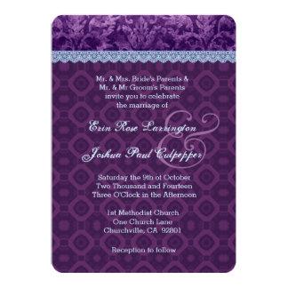 Casamento tema damasco roxo e azul V17 Convite Personalizado