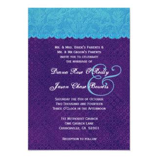 Casamento tema damasco V13 do roxo azul e real do Convites Personalizados