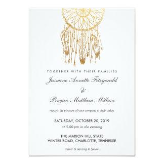 Casamento tribal da folha de ouro do falso de Boho Convite 12.7 X 17.78cm