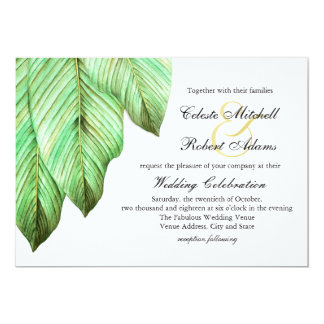 Casamento tropical da folha da aguarela convite 12.7 x 17.78cm