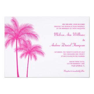 Casamento tropical da palmeira do rosa quente convite 12.7 x 17.78cm