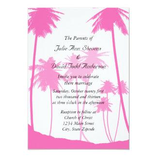 Casamento tropical das palmeiras do rosa quente convite 12.7 x 17.78cm