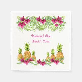Casamento tropical das samambaias das orquídeas guardanapo de papel