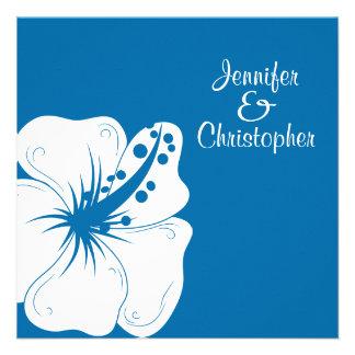 Casamento tropical do hibiscus do azul Cerulean e Convite Personalizados