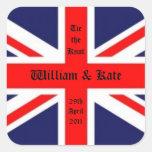 Casamento-União Jack de William & de Kate Adesivo Quadrado