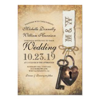 Casamento velho rústico da chave de esqueleto do convite 12.7 x 17.78cm