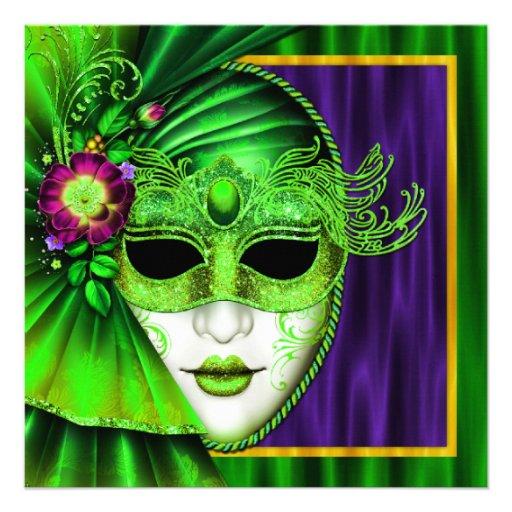 Casamento Venetian elegante do carnaval da máscara Convites Personalizado