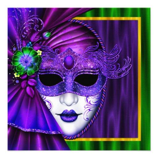 Casamento Venetian elegante do carnaval da máscara Convite Personalizado