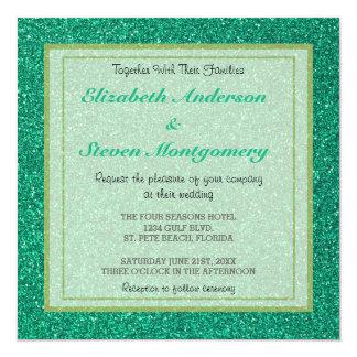 Casamento verde Sparkling da textura do brilho Convite Quadrado 13.35 X 13.35cm