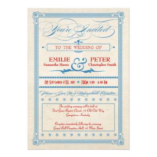 Casamento vermelho, branco & azul do poster vintag convite