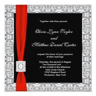 Casamento vermelho branco preto do arco convite quadrado 13.35 x 13.35cm