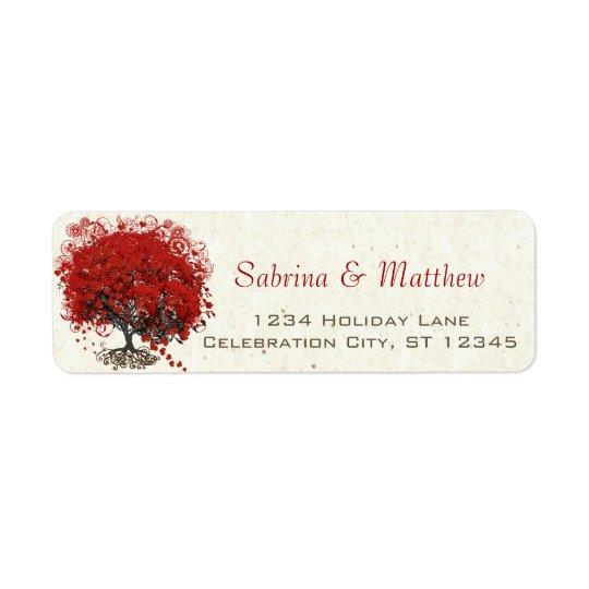 Casamento vermelho da árvore da folha do coração etiqueta endereço de retorno