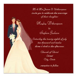 Casamento vermelho da noiva & do noivo, da igreja convite quadrado 13.35 x 13.35cm