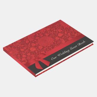 Casamento vermelho de brocado livro de visitas