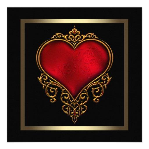 Casamento vermelho do coração do ouro preto convites personalizado