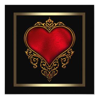 Casamento vermelho do coração do ouro preto convite quadrado 13.35 x 13.35cm
