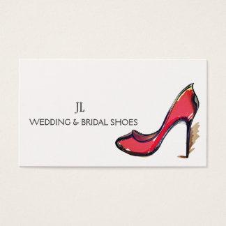 Casamento vermelho do salto alto do estilete da cartão de visitas