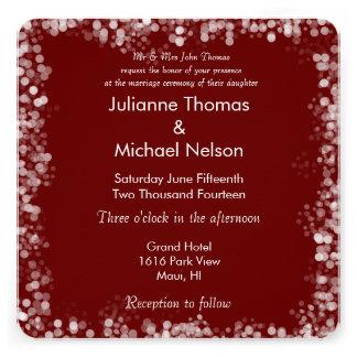 casamento vermelho e branco de Bokeh Convites Personalizados