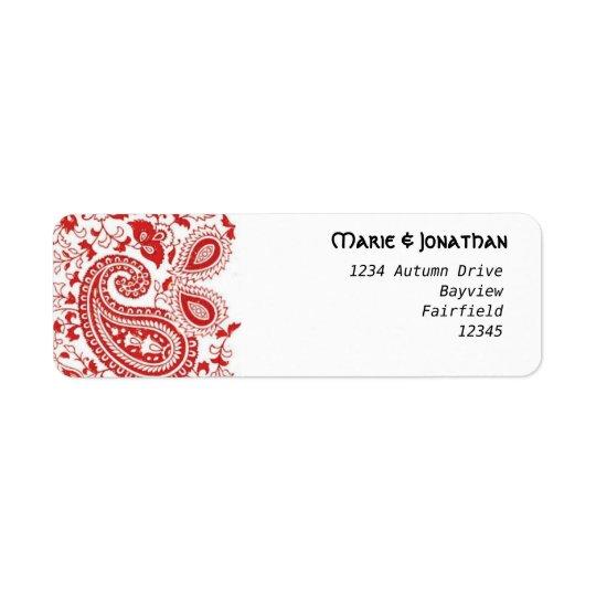 Casamento vermelho e branco de paisley etiqueta endereço de retorno