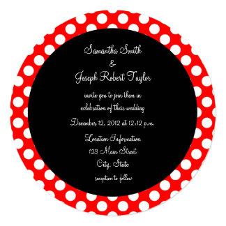 Casamento vermelho e branco do círculo do preto convite quadrado 13.35 x 13.35cm