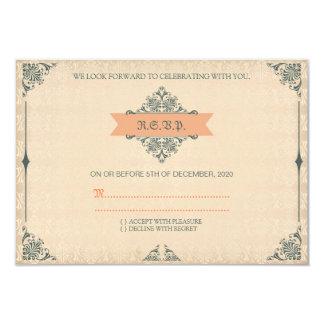 Casamento vintage antigo RSVP do estilo do Convite 8.89 X 12.7cm