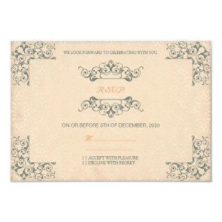 Casamento vintage antigo RSVP do redemoinho do Convite 8.89 X 12.7cm