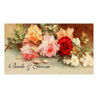 Casamento vintage, arte floral das flores cor-de-r modelo cartoes de visitas