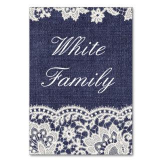 Casamento vintage branco Tablecard do laço de jean