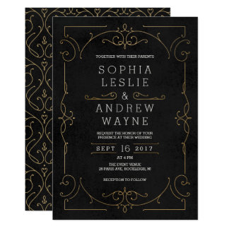 Casamento vintage clássico moderno elegante do convite 12.7 x 17.78cm