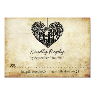 Casamento vintage de suspensão RSVP da árvore do Convite 8.89 X 12.7cm