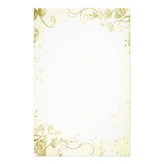 Casamento vintage elegante do ouro papeis personalizados