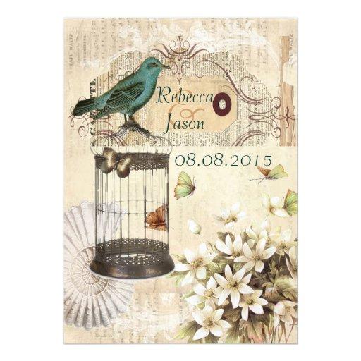 casamento vintage floral shabbychic elegante de Pa Convites Personalizado